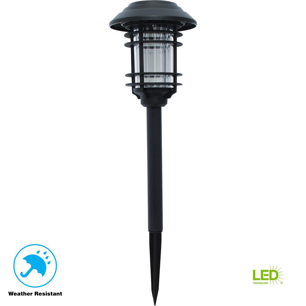 Hampton Bay Solar Black Outdoor Integrated LED Landscape ...