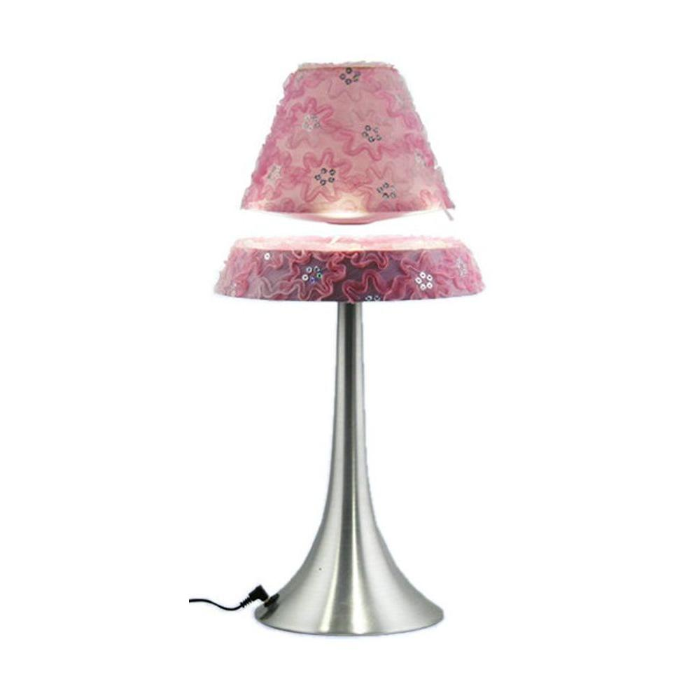 All The Rages 16.5 in. Brushed Chrome 9-Watt LED Touch Control Hover Lamp with Floating Pink Shade
