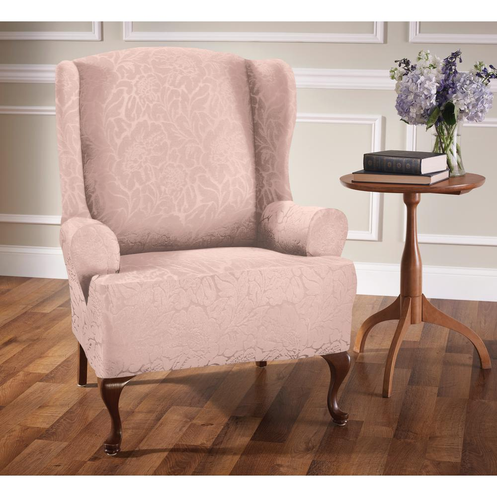 Beau Stretch Sensations Stretch Blush Floral Wing Chair Slip Cover