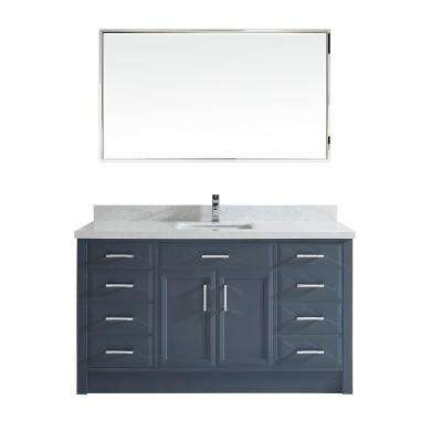 Calais 60 in. W x 22 in. D Vanity in Pepper Gray with Solid Surface Vanity Top in White with White Basin and Mirror
