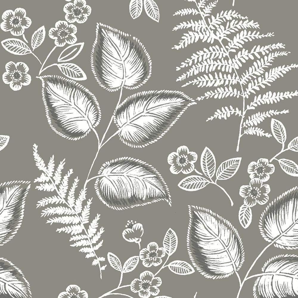 NuWallpaper 30.75 sq. ft. Grey Foliage Peel and Stick Wallpaper