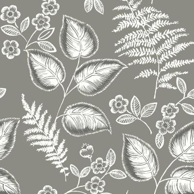 30.75 sq. ft. Grey Foliage Peel and Stick Wallpaper
