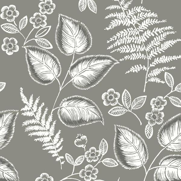 NuWallpaper 8 in. x 10 in. Grey Foliage Peel and Stick