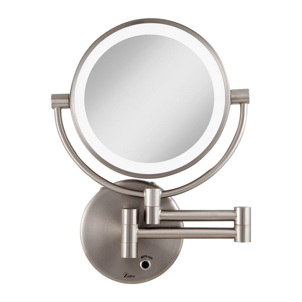 W LED Lighted Wall Mirror In Satin Nickel LEDMW45