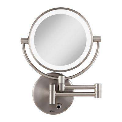 12 in. L x 9 in. W LED Lighted Wall Makeup Mirror in Satin Nickel