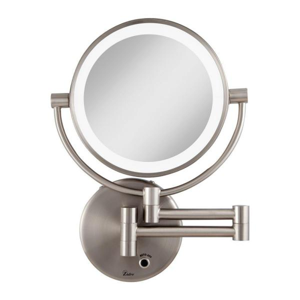 Zadro 12 In L X 9 In W Led Lighted Round Wall Mount Bi View 5x 1x Magnification Plugin Beauty Makeup Mirror In Satin Nickel Ledmw45 The Home Depot