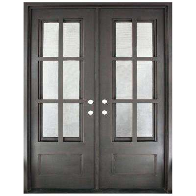 62 in. x 81.5 in. Craftsman Classic 12 Lite Painted Oil Rubbed Bronze Clear Wrought Iron Prehung Front Door