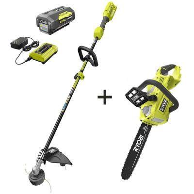 40-Volt Lithium-Ion Cordless Attachment Capable String Trimmer and Brushless Chainsaw w/4.0Ah Battery & Charger Included