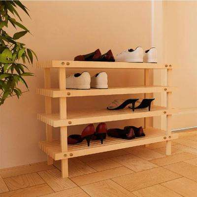Pine Solid Wood Natural Color 4-Shelf Multipurpose Rack