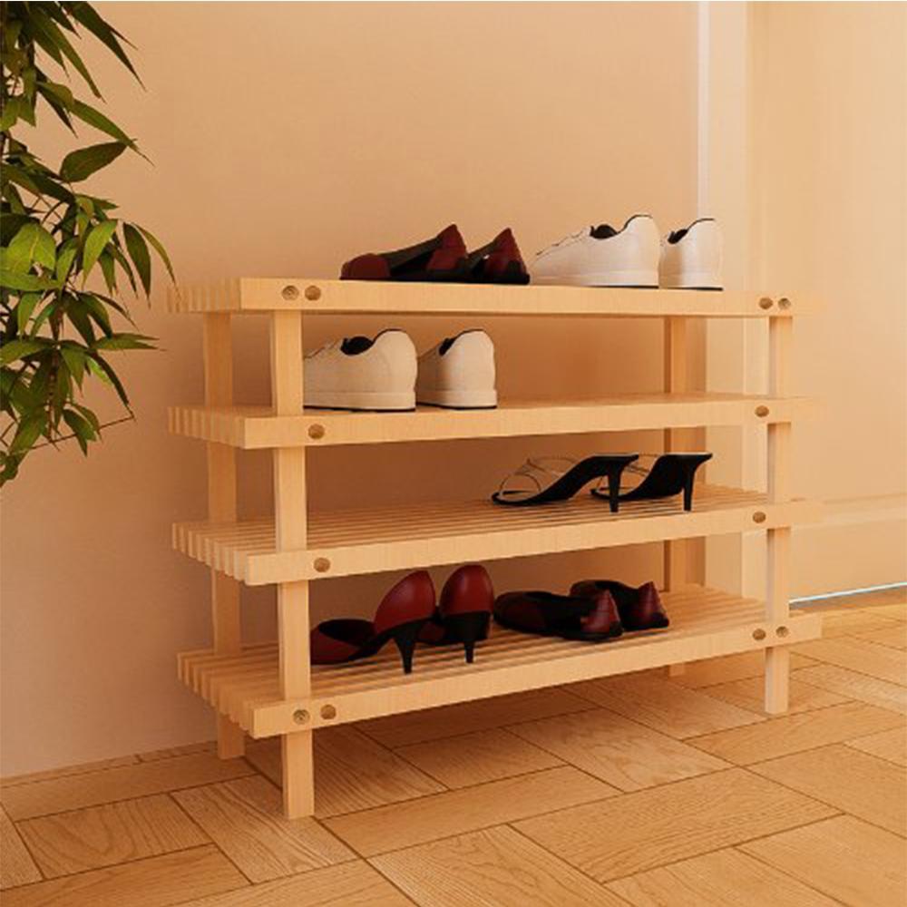 Pine Solid Wood Natural Color 4-Shelf Multipurpose Rack