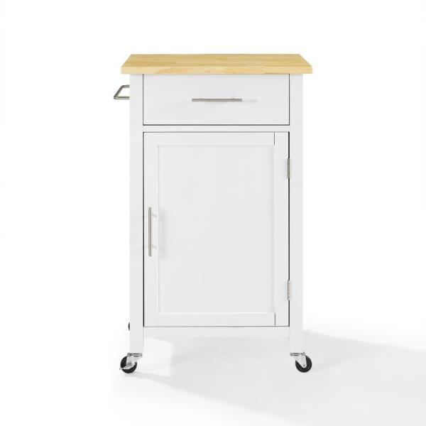 Savannah White with Wood Top Compact Kitchen Island