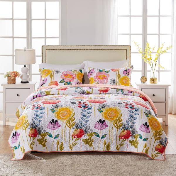 Watercolor Dream 3-Piece Multi Full and Queen Quilt Set