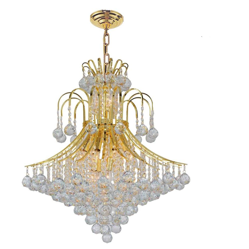 Empire Collection 15-Light Polished Gold Chandelier with Clear Crystal Shade