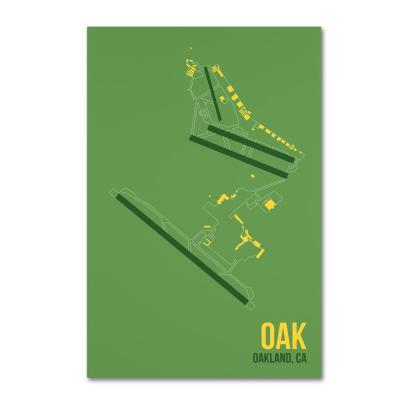 """30 in. x 47 in. """"OAK Airport Layout"""" by 08 Left Canvas Wall Art"""