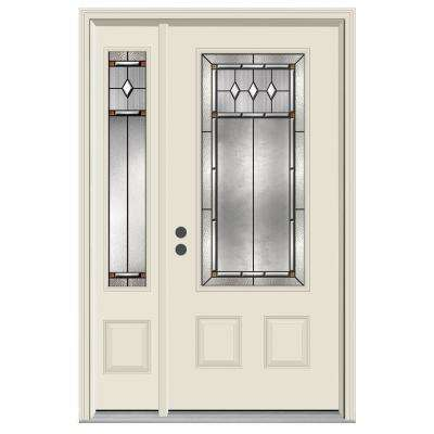 50 in. x 80 in. 3/4 Lite Mission Prairie Primed Steel Prehung Right-Hand Inswing Front Door with Left-Hand Sidelite