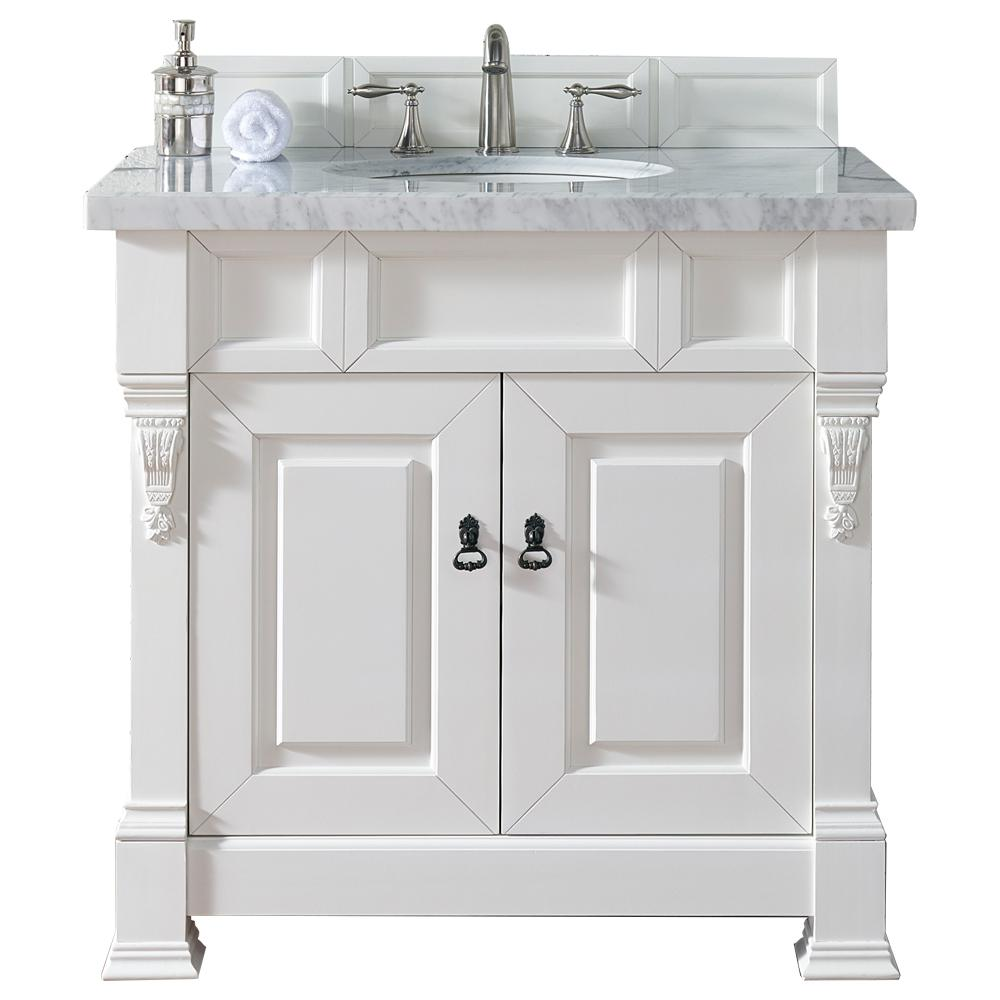 James Martin Signature Vanities Brookfield 36 in. W Single Vanity in Cottage White with Marble Vanity Top in Carrara White with White Basin