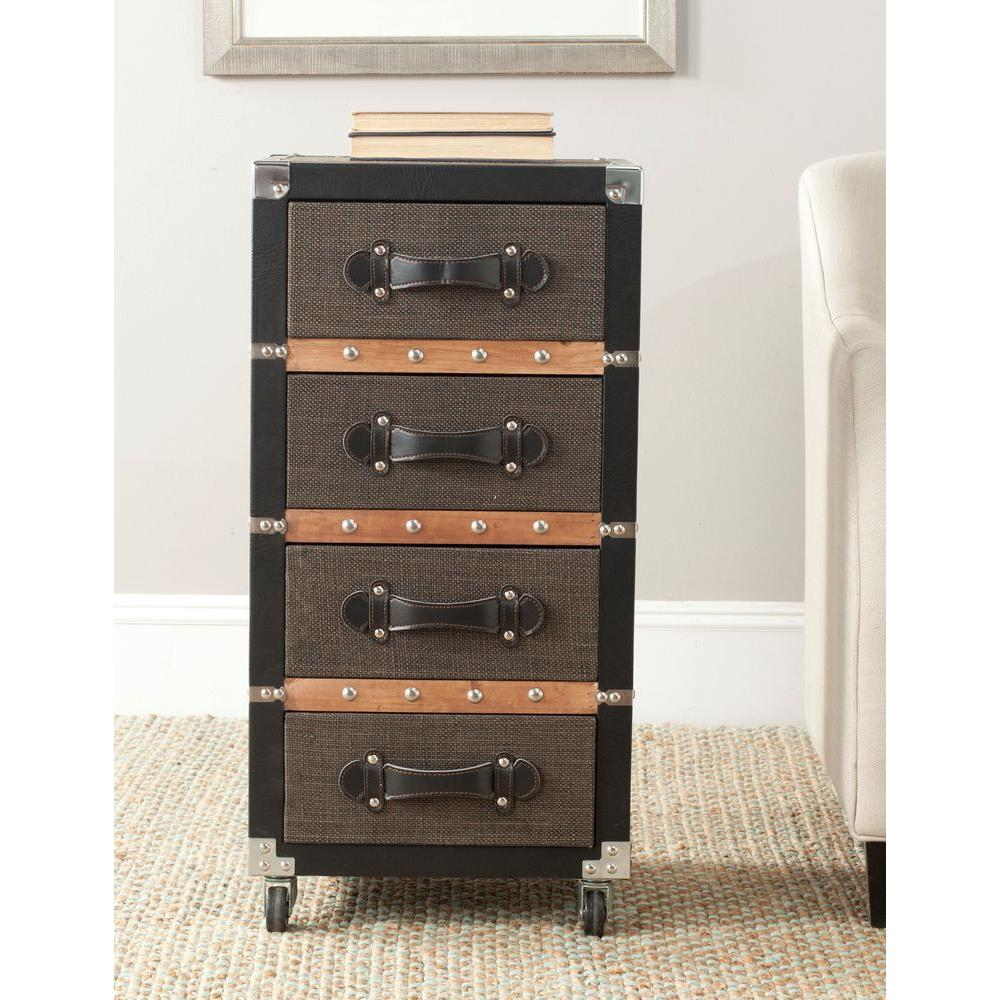 brent black and brown mobile end table