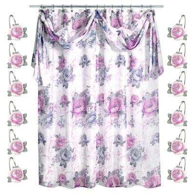 72 in. Lilac Michelle 13-Piece Shower Curtain Set