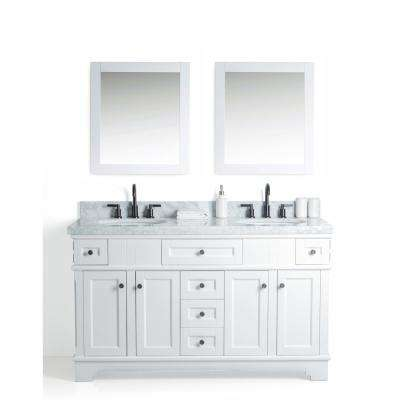 60 in. W x 22 in. D Vanity in White with Cararra Marble Vanity Top in White and Gray with White Basin and Mirror