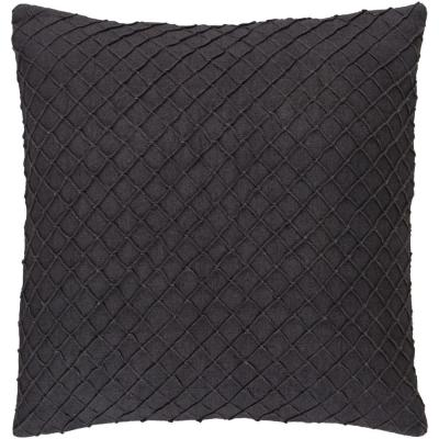 Gorleston Charcoal Solid Polyester 22 in. x 22 in. Throw Pillow