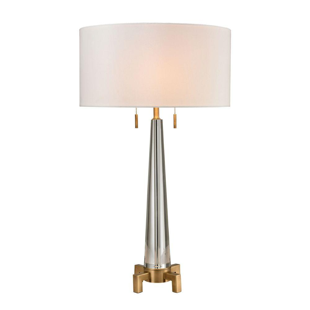 Titan Lighting Bedford 30 in. Aged Brass Solid Crystal Table Lamp