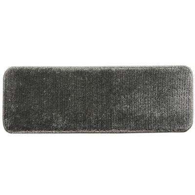 Sweethome Stores Luxury Collection Gray 9 in. x 26 in. Rubber Back Shaggy Stair Tread (Set of 14)
