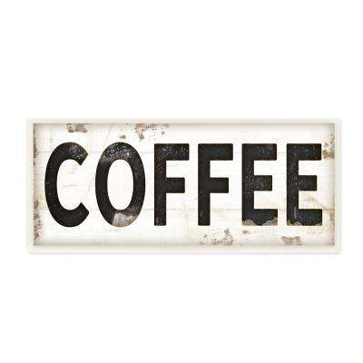"7 in. x 17 in. ""COFFEE Typography Vintage Sign"" by Jennifer Pugh Printed Wood Wall Art"