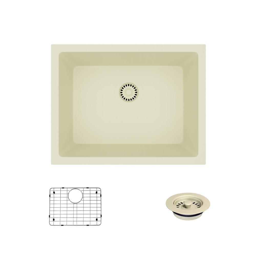 Dual-Mount Composite Granite 21-5/8 in. Single Bowl Kitchen Sink in Ecru