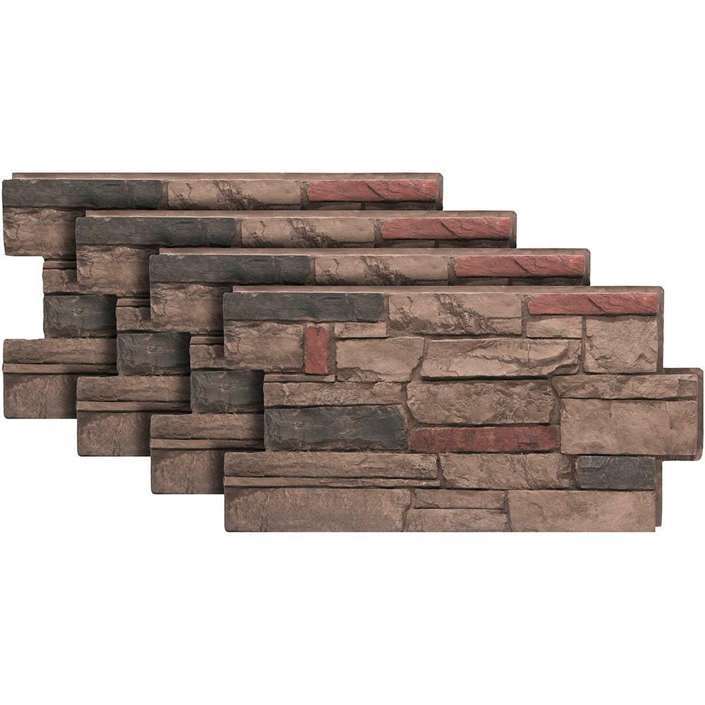 Ledgestone #25 Mocha 24 in. x 48 in. Stone Veneer Panel (4-Pack)