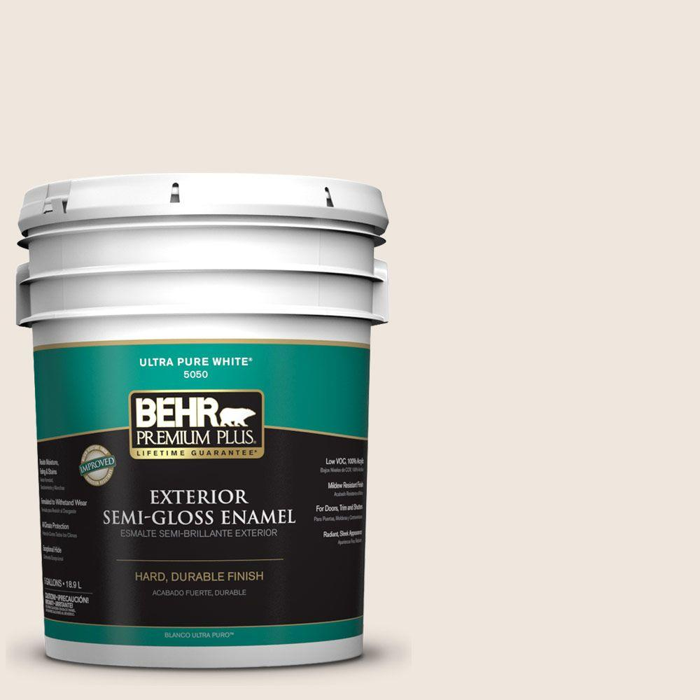 BEHR Premium Plus 5-gal. #W-B-710 Almond Cream Semi-Gloss Enamel Exterior Paint