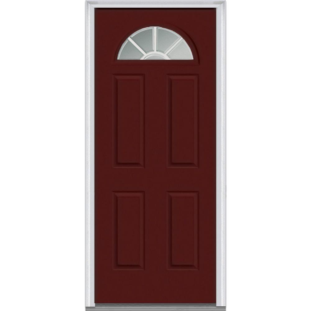 Mmi door 30 in x 80 in grilles between glass right hand inswing 1 4 lite clear 4 panel classic 30 exterior door with glass