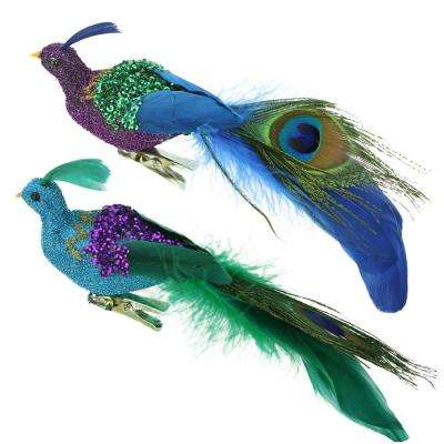 8 in. Regal Peacock Purple  Green and Blue Sequins Bird Clip-On Christmas Ornament