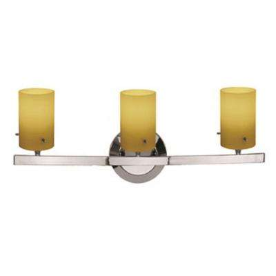 Classical 3 Light Chrome Vanity Light with Amber Glass Shade