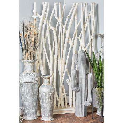 White Teak Wood Driftwood Screen