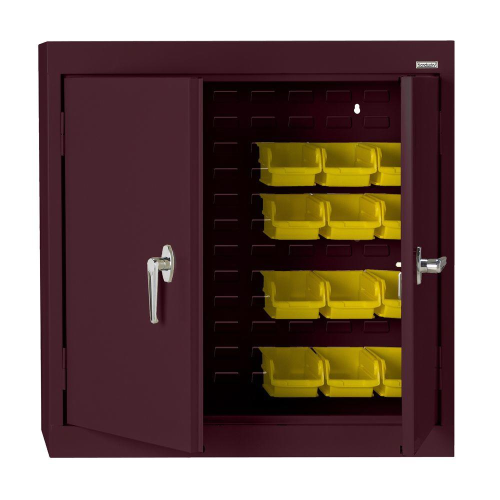 null 30 in. H x 36 in. W x 12 in. D Solid Door Bin Wall Cabinet in Burgundy