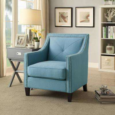 Roosevelt Sapphire Blue Linen Accent Chair with Single Tuft and Oak Legs