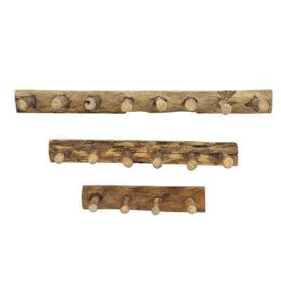 Rustic Multi-Brown Reclaimed Teak Wood Wall Coat Racks