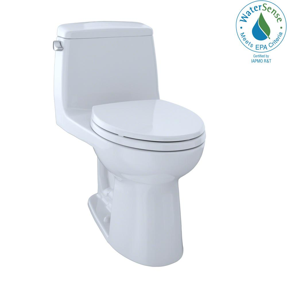 TOTO Eco UltraMax 1-Piece 1.28 GPF Single Flush Elongated Toilet in ...