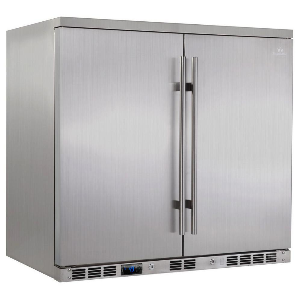 Single Zone 35.4 in. 169 (12 oz.) 2-Door Solid Stainless Steel