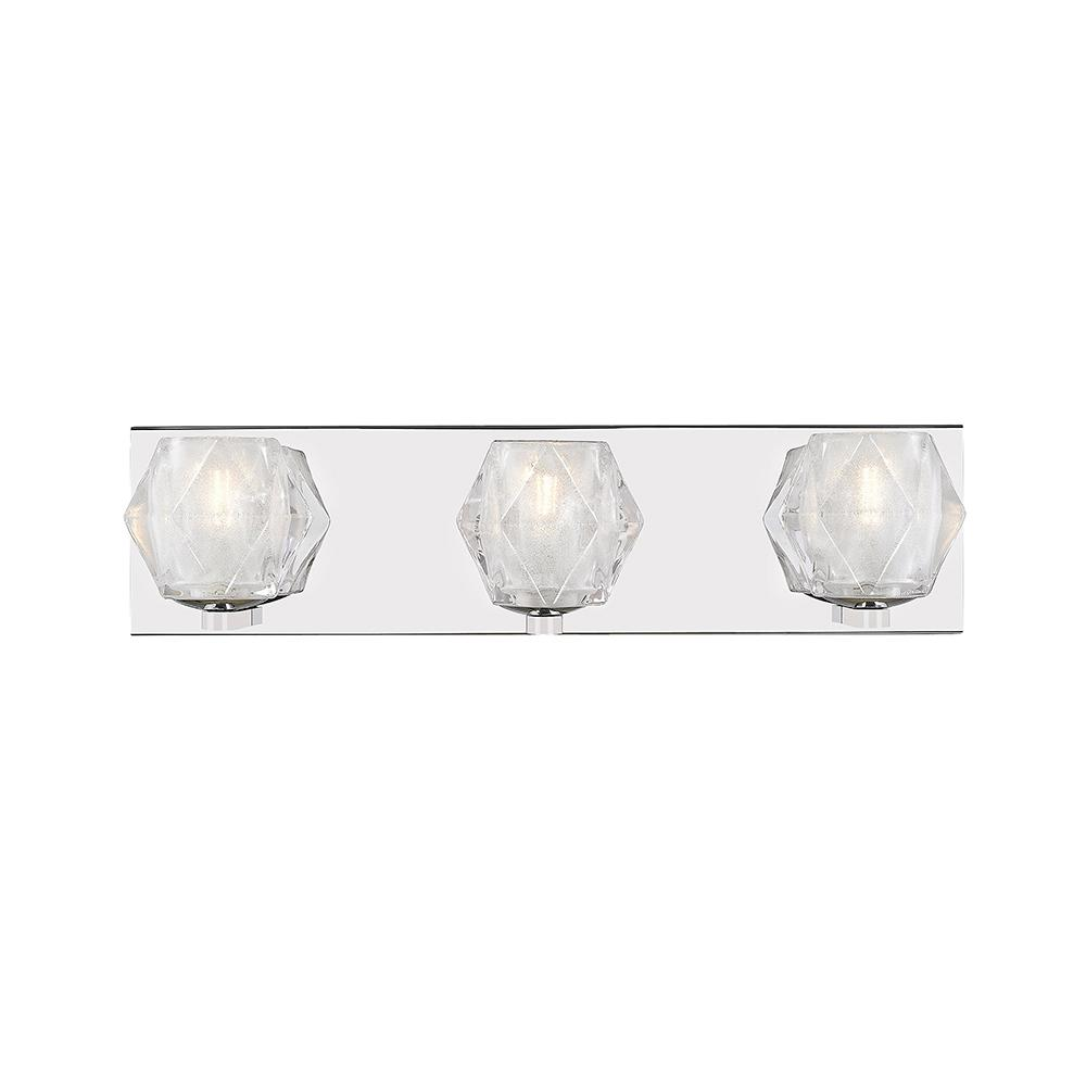Ove Decors Harriett Iii 19 In 3 Light Stainless Steel Mirror Vanity With Frosted Gl Shade