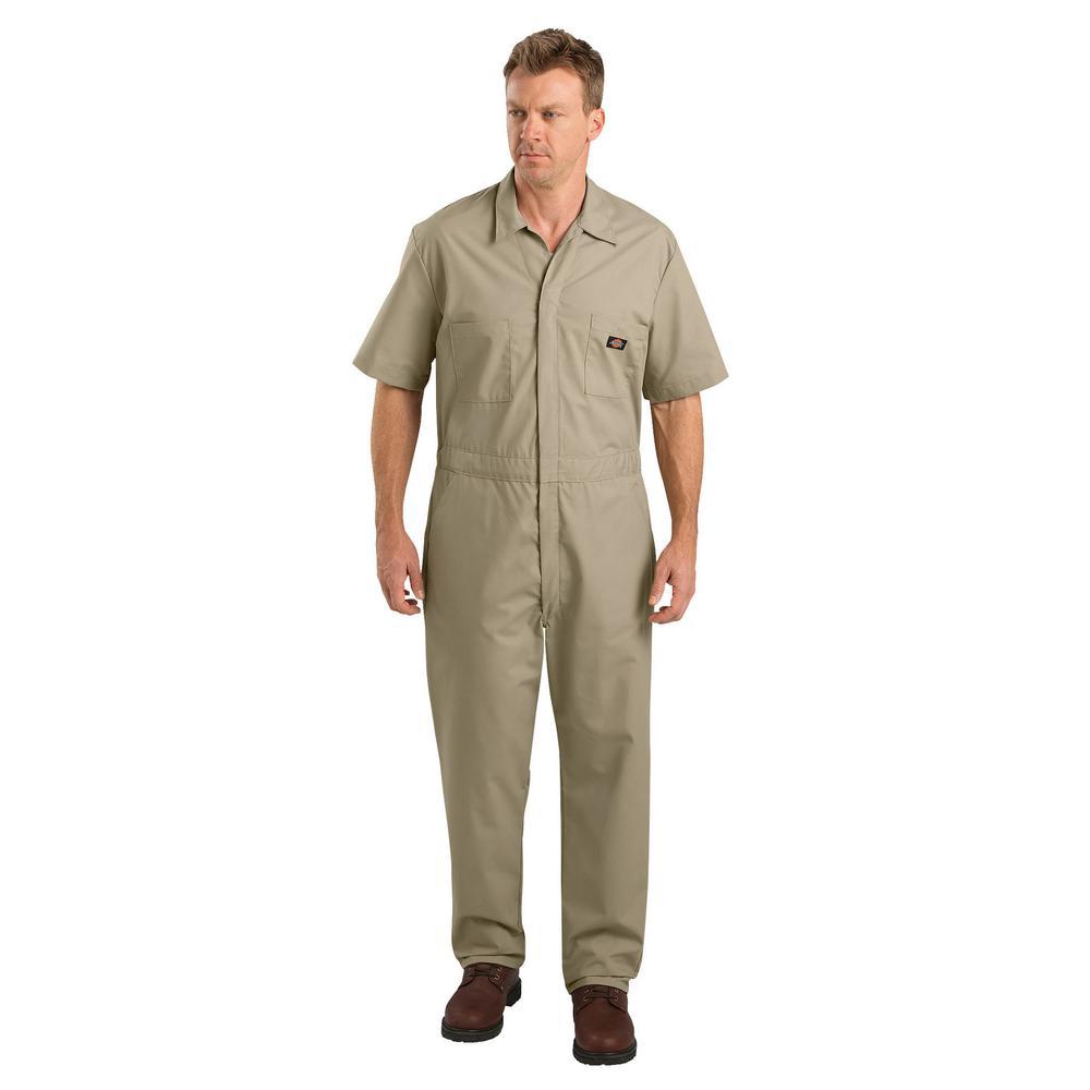 Men Large Short Sleeve Khaki Coverall