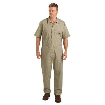 Men Small Short Sleeve Khaki Coverall
