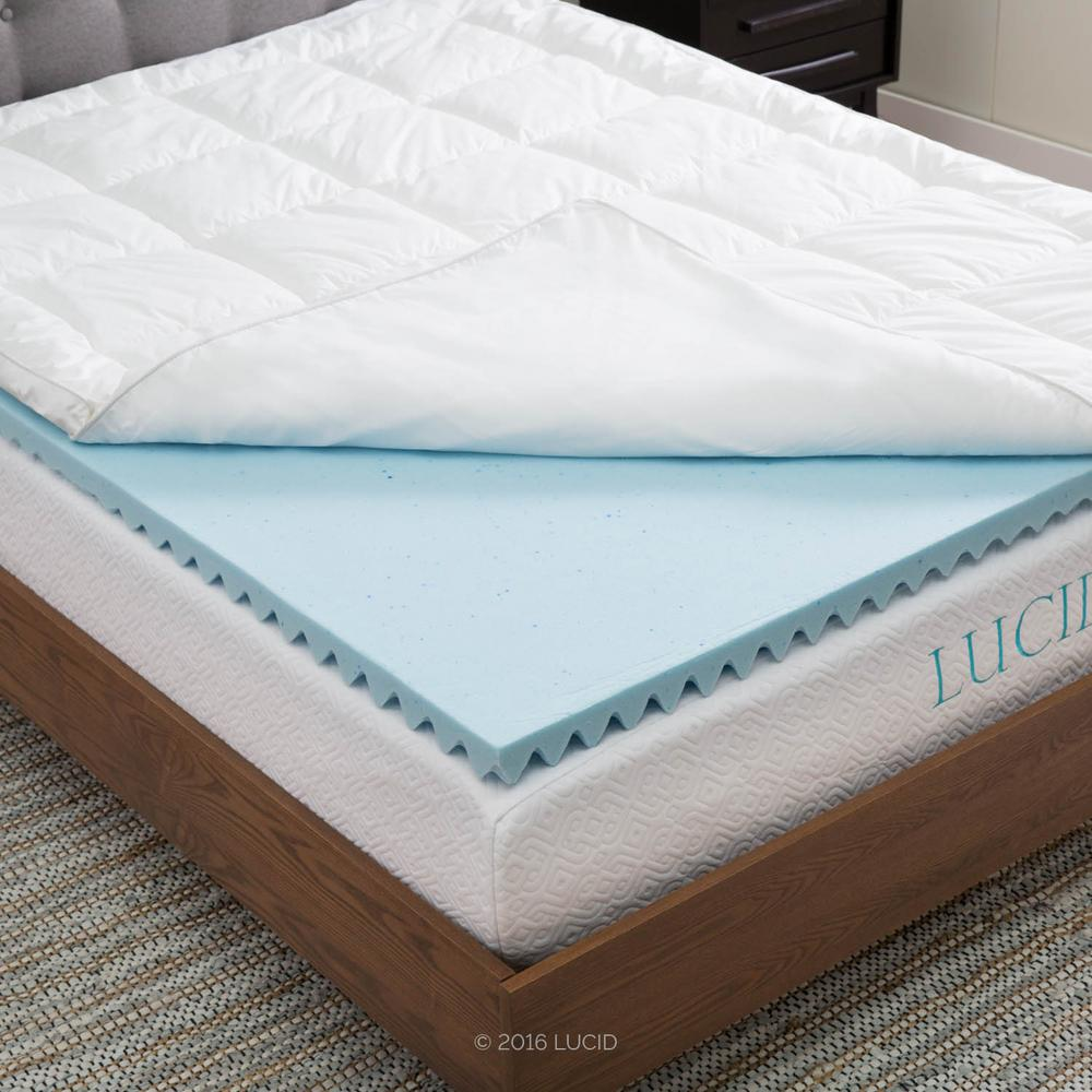 lucid full hybrid down alternative gel infused memory foam mattress pad lu40ffdagt the home. Black Bedroom Furniture Sets. Home Design Ideas