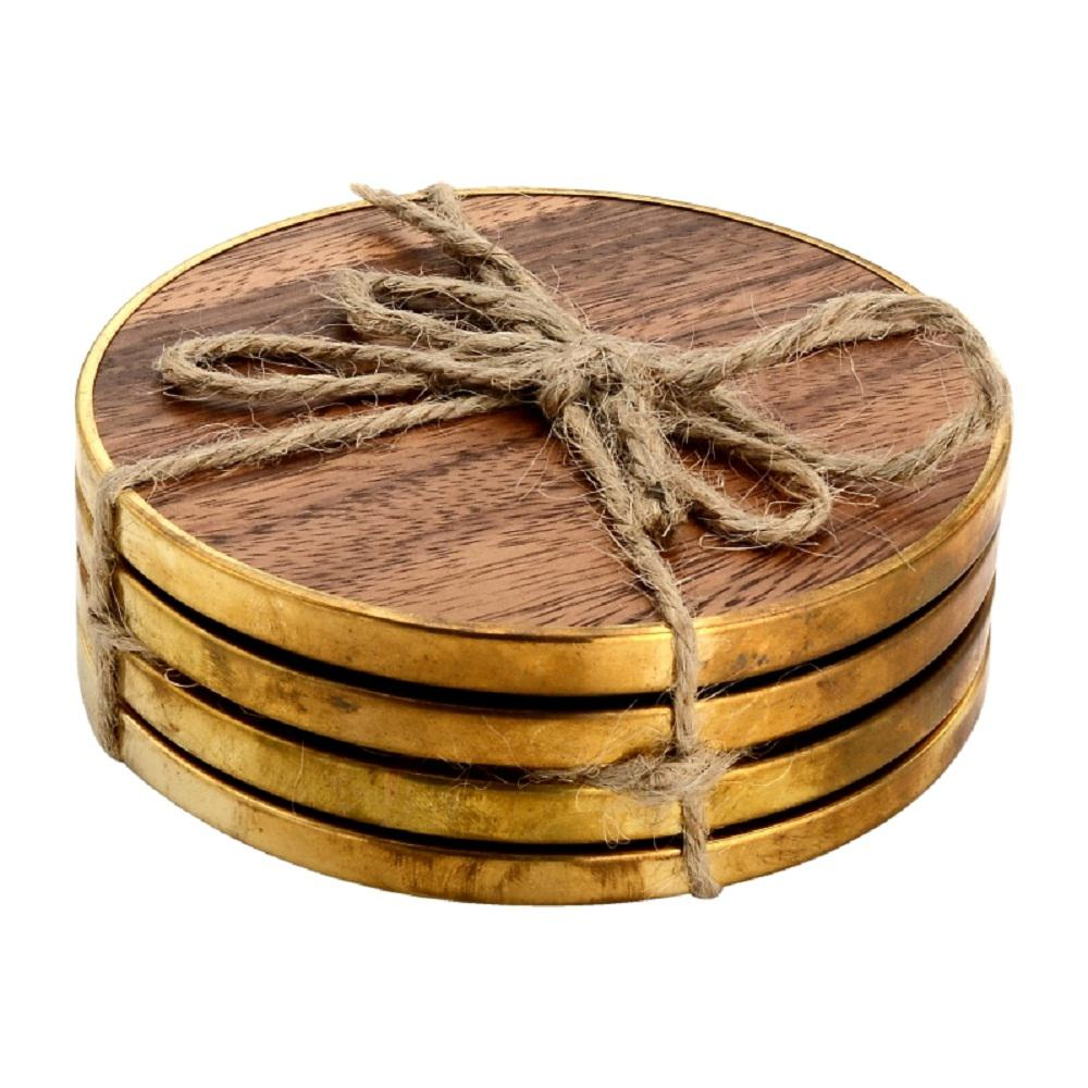 4-Piece Hammered Brass Wood Coaster Set