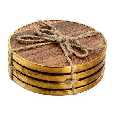 4-Piece Hammered Brass Wood Coaster Set