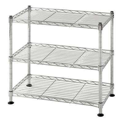 18 in. W x 18 in. H x 10 in. D 3-Shelf Steel Wire Chrome Finish Commercial Shelving Unit