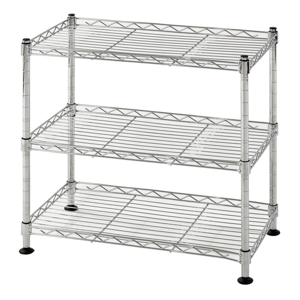 Muscle Rack 18 in. W x 18 in. H x 10 in. D 3-Shelf Steel Wire Chrome ...