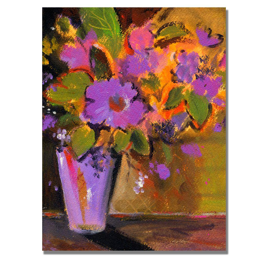 18 in. x 24 in. Purple Magenta Flowers Canvas Art