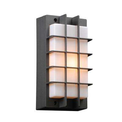 1-Light Outdoor Bronze Wall Sconce with Opal Acrylic Lens