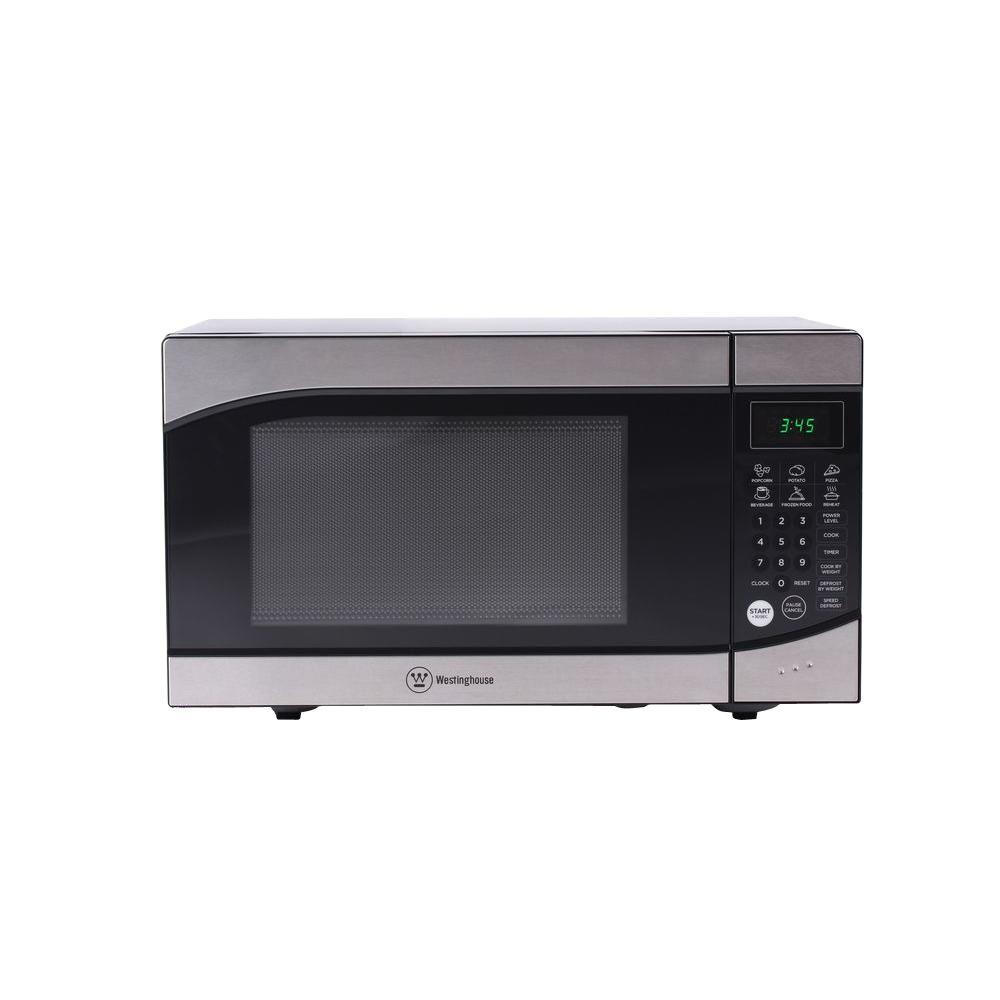 westinghouse 0 9 cu ft 900 watt countertop microwave in stainless steel front and black body. Black Bedroom Furniture Sets. Home Design Ideas